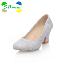 S.Romance Plus Size 32-43 Women Pumps New Fashion Sexy Elegant Round Toe Med Heel Woman Shoes Purple Silver Apricot SH333