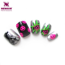 2016 New Cartoon Design False Nail Art Tips Christmas Cartoon Short Nail Tips ABS High Quality Printing Finger Tips Free Glue