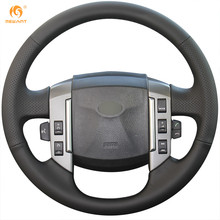 MEWANT Black Genuine Leather Car Steering Wheel Cover for Land Rover Discovery 3 2004-2009