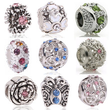 Couqcy Free Shipping hot silver European CZ Charm Beads Fit pandora Style Bracelet Pendant Necklace DIY Jewelry Originals