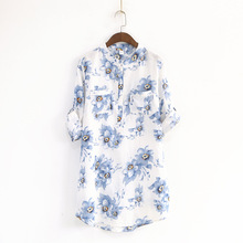 Retro Art Fan Lanzhi Spring Women Stand-up Collar Pocket Loose Long Section 3/4 Sleeve Shirt Printing