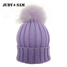 JS FUR Design Warm Winter Wool Blend Knitted Women Hats and Caps with Matching Color Real Raccoon Fur Pom Pom Beanie Hat for Men(China)