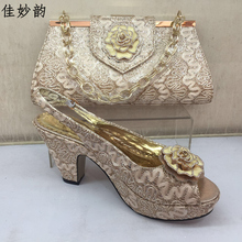 New Peach Color Matching Women Shoes and Bag Set Decorated with Appliques High Quality African Women Italian Shoe and Bag Sets