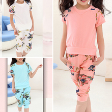 Girls Kid Floral Short Sleeve Summer T-shirt Top Blouse Pants Outfit Set 6-11Years suit children's clothing girls flowers 2017