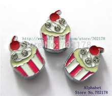 wholesales 100pcs ice cream Slide Charms 8mm Fit Can through 8mm band 8mm Pet Dog Cat Tag Collar Wristband(China)