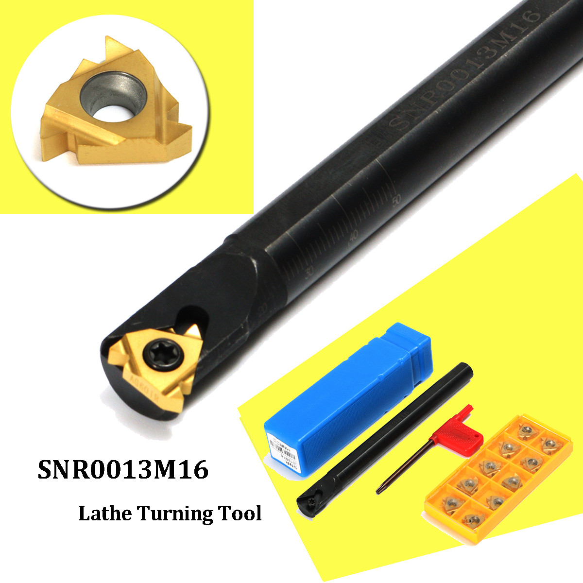 1 Set SNR0013M16 CNC Tool Holder Boring Bar + 10pcs 16IR AG60 Insert with Wrench For Lathe Threading Turning Tool(China)