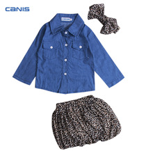 2017 Newest Fashion 3PC Toddler Infant Baby Girls Dress Denim Shirt Tops+Leopard Skirt+Headband Outfits Kids 3pcs Clothes Set(China)
