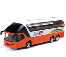 hot sale Scale Bus Models Toy New York Double Decker Sightseeing Tour Bus 1/32 Diecast Car Model w/light&sound Collectible Model