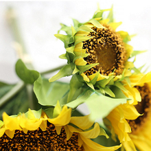 Promotion! We Flower Bouquet Lifelike Artificial Sunflower Artificial Plastic Sunflower Heads Home Party Decorations(China)