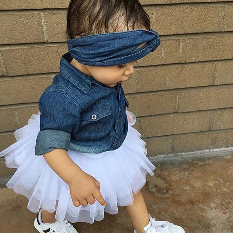 0-5a enfant nouveau enfants bébé filles infantile à manches longues denim tops shirt + tutu jupes dress + bandeau 3 pcs jeans tenues vêtements set 5