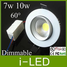 New White Shell Dimmable Recessed Led Downlight Cob 7w 10w Dimming LED Spot Light Led Ceiling Lamp AC110V-240V 4 Years Warranty