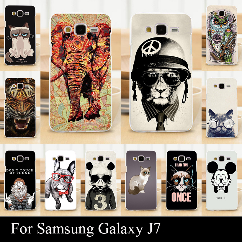 For Samsung J7 J 7 Case Hard Plastic Mobile Phone Cover DIY Color Paint Painting Cellphone Bag Shell cases(China (Mainland))