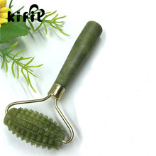 KIFIT Practical Natural Jade Face Massager Roller Spa Head Neck Body Facial Health Slimming Massager Beauty Tool Green