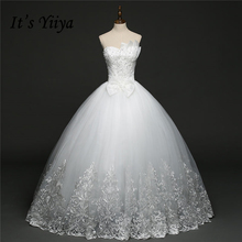 Buy It's YiiYa White Sleeveless Strapless Sales Wedding Dresses Charming Bow Beading Shining Sequined Pearls Wedding Frock HS274 for $51.78 in AliExpress store