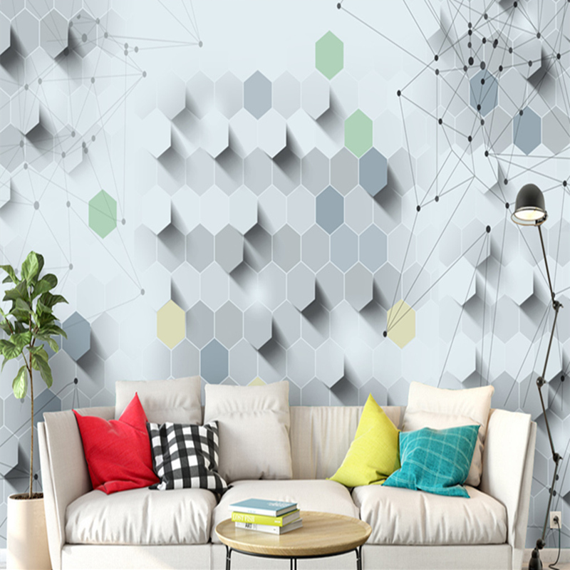 Wallpaper for Walls 3D in Rolls European Style 3D Mural Abstract Hexagon Art Background Wallpaper Murals for Lobby Wall Papers<br>