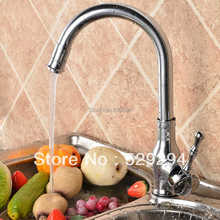 Kitchen faucet,Polished  Chrome sink mixer bar water tap.360 degree roating long neck water tap.Hot&Cold kitchen faucet K-005B
