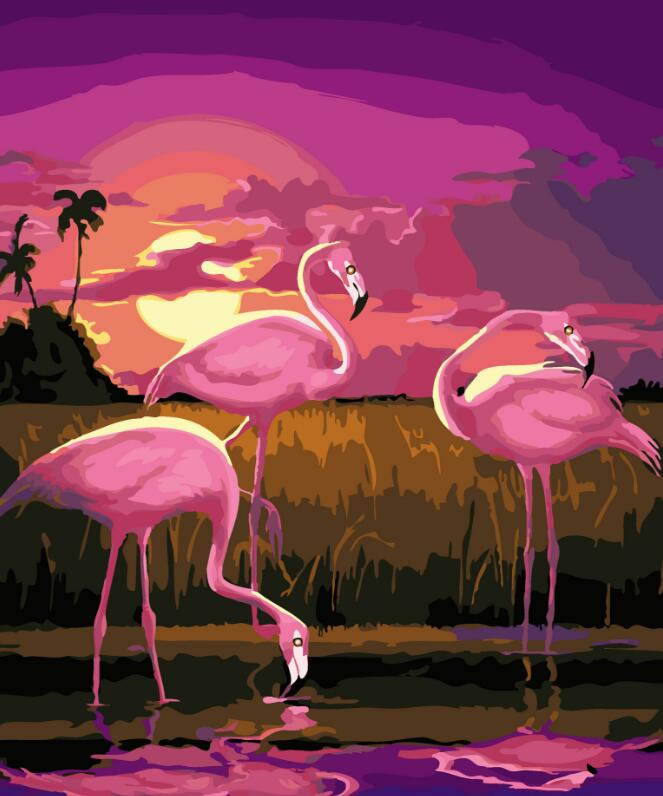 2017 New 22 styles Digital Diy oil painting by numbers Flamingo picture on canvas oil paint coloring by number drawing x38 15