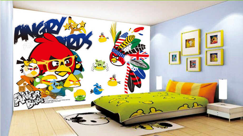 Custom children wallpaper,Birds,3D cartoon murals for childrens bedrooms restaurants backdrop PVC wallpaper<br>