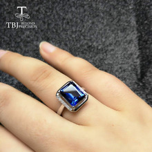 TBJ,classic Gemstone Ring with Coated Blue  topaz oct8*10mm in 925 sterling silver gemstone jewelry for women with gift box