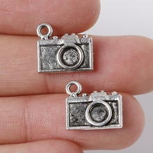 Hot Selling 10pcs 12x13mm Zinc Alloy Antique Silver Camera DIY Charms Pendants Fit Necklace Bracelet Jewelry Making Accessories