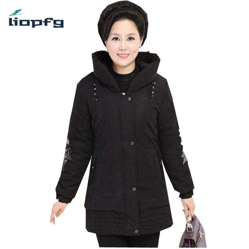 Mother loaded winter womens cotton jacket 2017 new large size womens hooded thickening warm cotton  Black jacket XL-4XL  WM407Îäåæäà è àêñåññóàðû<br><br>