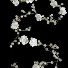 Extra Long Wedding Hair Vine Beaded Wedding Headpiece with Pearls Rhinestones and Flowers Floral Hair Vine 19 Inches(China)