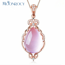 MOONROCY Free Shipping Jewelry Rose Gold Color Ross Quartz CZ Crystal Pink Opal Jewelry Necklace for Women Girls Gift Choker