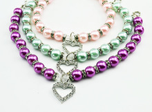 10PCS/LOT Pet Dog Cat Hot sales Fashion For Pink Pet Dog Pearls Necklace Collar with Crystal Heart Charm Pendant Jewelry