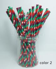 25 Pcs/Pack Paper Straws Festival Pattern Drinking Straw For Valentines Wedding Party Birthday Decoration Color 2
