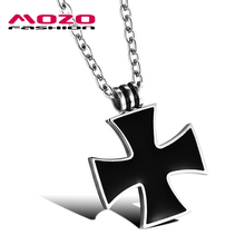 Wholesale 2016 new fashion fine jewelry men stainless steel Epoxy black cross pendants & necklaces tide male accessories MGX960