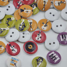 New 100Pcs Music breaks Mini Wood Button Kid's Sewing Crafts Accessories Beads WB275