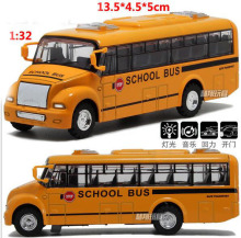 Big Size Alloy metal American school bus car model toy high speed Pull back car with Light and music