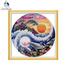 Joy sunday animal style Sun moon and dolphins modern christian cross stitch pattern kits craft gift  for beginners