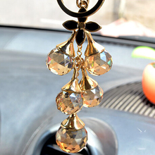 Free Shipping! Clear and Champagne Crystal Ball Tassel Bag&Car Key chain Hanger Wholesale and Retail Bag Charms Keychain(China)