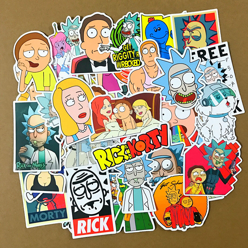 50pcs Rick and Morty Stickers Pack Vinyl Laptop Luggage Decals Dope Sticker Lot