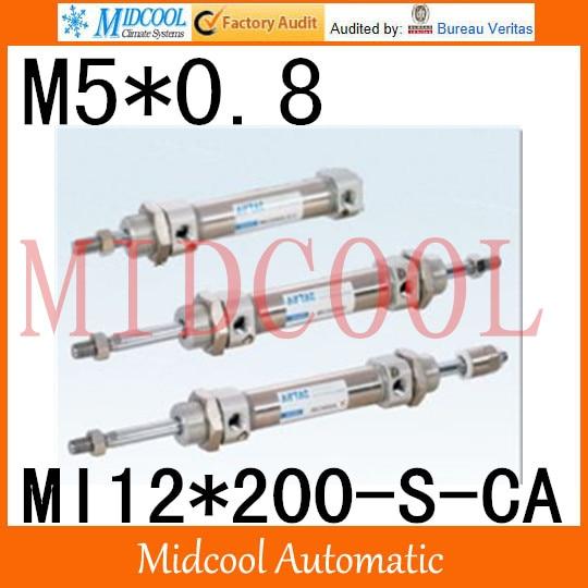 MI Series ISO6432 Stainless Steel Mini Cylinder  MI12*200-S-CA  bore 12mm port M5*0.8<br>