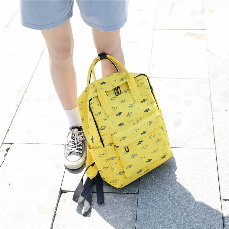 Menghuo Fish Printing Women School Bag Backpack for Teenage Girls Backpacks Female Canvas Children Schoolbag Women Bag s (41)