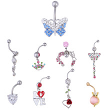 Rhinestone Shinning Belly Punk Rings Navel Barbell  Button Ring Body Piercing Jewelry Umbilical Nail Eyebrow Nail Piercing