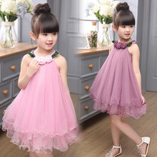 New 2017 Girls Summer Dresses Fashion Casual Flower Girl Dresses Purple Tutu Toddler Dress Kids Princess Party Clothes for 5-12Y