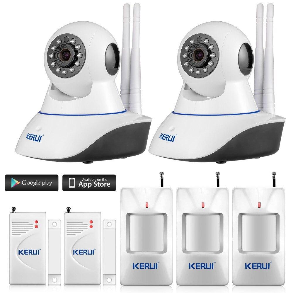 KERUI Android IOS APP 720P IP Camera WiFi Home Burglar camera Alarm System with PIR Motion Detectors door gap close sensor<br><br>Aliexpress