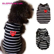 Glorious Kek Comfortable Cotton Brand New Black Stripes Dog t shirts Summer Dog Clothes Vest Shirt Teddy Clothes FREE SHIPPING