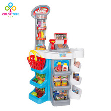 Children Simulation Toy Supermarket Grocery Shopping Basket with Cash Registers Pretend Play(China)