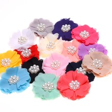 60PCS Rosette Chiffon Hair Flower with Pearl Cluster Center Flowers for Hair Accessories No Hair clip Hair Bows(China)