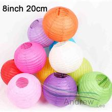 5Pcs/lot 8''20cm Multicolor Chinese Paper Lanterns Led Flesh Lamp Children DIY Hanging Ball Wedding Outdoor Event Party Decor