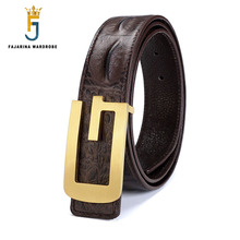 FAJARINA Brand Name Designer Solid Letter Brass Buckle Belts Crocodile Cow Skin Leather Smooth Belt for Men 3.3cm Wide LUFJ413(China)
