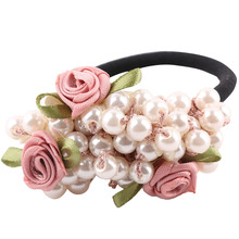 Fashion Girls hair accessories rustic small fresh flower beaded pearl headband rubber band elastic hair bands(China)