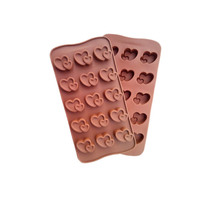 L026 Double Heart Silicone Lollipop Chocolate Mold Candy Wedding Decoration Bakeware Cooking Fondant Cake Tools(China)