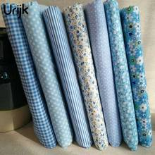 Urijk 7PCs/Lot 25*25cm Blue Mixed Flower Print Fabric DIY Sewing Accessories Quilting Bedding Cloth Sewing Material Textile(China)