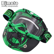 BJMOTO New Cool Motorcycle Face Mask Dust Detachable Goggles Motocross Glasses Mouth Filter For Open Face Moto Vintage Helmet