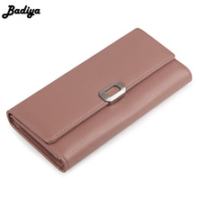 Super good Feel Metal Hasp Women Long Wallet Trifold PU Leather Solid Purse Fashion Female Card Holder Clutch Phone Pocket(China)